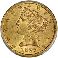 1897-S PCGS MS-62 Liberty Head Half Eagle $5 – Type 2 with Motto