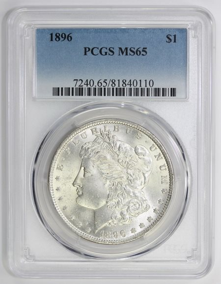 1896 Morgan Silver Dollar Ms 65 Pcgs 0110