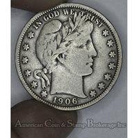 50c Cent 1/2 Half Dollar 1906 F12 light gold gray tone