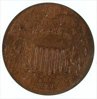 1864 LARGE MOTTO 2C Two Cent ANACS VF 35 MS BN