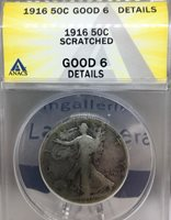 1916-P 50C Walking Liberty Half Dollar, ANACS Good 6 Details, 1st year of issue