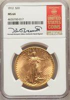 1912 $20 ST. GAUDENS MS64 W/BRESSETT