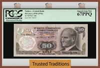 50 Lira 1970 Turkey Pcgs 67 Ppq Superb Gem New None Graded Finer