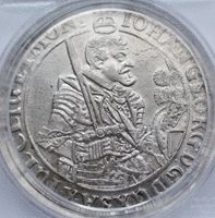 1638 Germany German European Thaler Antique Large Silver Coin, PCGS AU 55 Knight Sword gift gifts for men rare coins