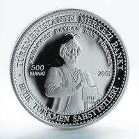 Turkmenistan 500 manat Mohammad Bairam Khan Turkmen silver coin 2001
