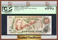 10 Piso 1978 Cs1 Philippines Mabini Specimen Pcgs 65 Ppq Gem New