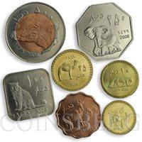 Darfur, set of 7 coins Fauna Elephant Camel Crocodile Hyena Leopar Antilope 2008