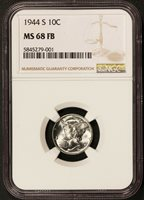 1944-S U.S. Mercury Dime 10 Cents Silver Coin - NGC MS 68 FB