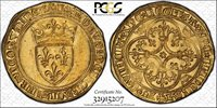 Superb French Ecu d'or a la Couronne Charles VI, 1380-1422. 1380-1422 Ecu d'or, Troyes Mint, PCGS Secure Holder MS-62This is a large classic medieval French gold coin featuring a French crowned shield of three fleurs de lis, and a floriated cross in quadrille on the reverse. This coin heralds from the much scarcer Troyes mint. Formerly graded NGC MS-63, which is the grade I agree with. While we could quibble about the grade, the more important point is that we are looking at a 600 year old gol