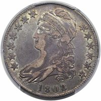 1808/7 Capped Bust 50¢Overton-101, Rarity-1XF40 [PCGS Edge View]