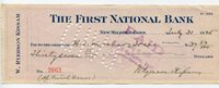 USA -Beautiful Original Antique Cheque - Check - dated 1925 - The First National Bank .