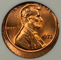1972 ANACS MS65 RED Off Center Lincoln Cent Mint Error Nice Coin!