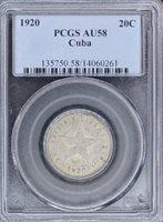 1920 Star 20 Centavos – Silver – PCGS AU58