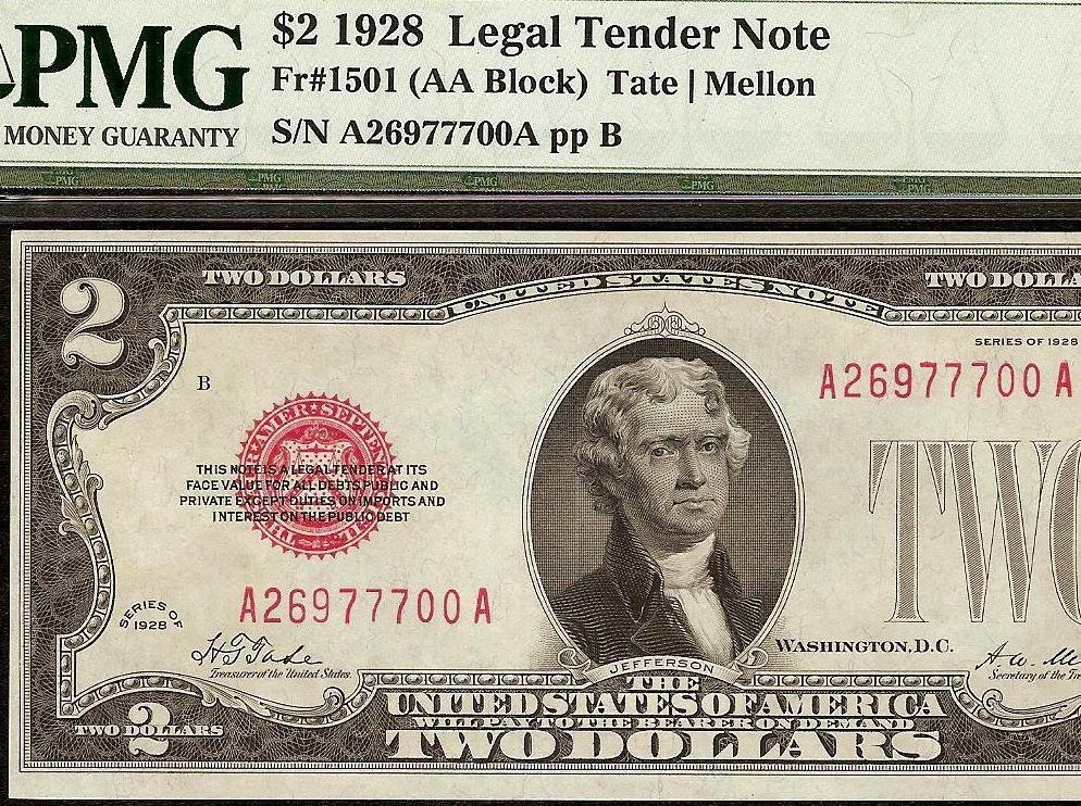 1928 $2 DOLLAR BILL UNITED STATES LEGAL TENDER RED SEAL NOTE Fr 1501 PMG 58  EPQ