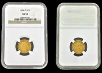 NGC AU53 1844-C $2.50 GOLD LIBERTY HEAD CORONET COIN CHARLOTTE MINT GRADED
