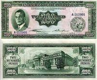 "Philippines 200 Pesos Pick #: 140 1949 aUNC Green Manuel Quezon; Crest; Legislative buildingNote 6 1/4"" x 2 3/4"" Asia and the Middle East None Discernible"