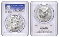 2017 1oz Silver Eagle Coin PCGS MS70 First Strike-Verified by David Hall C35