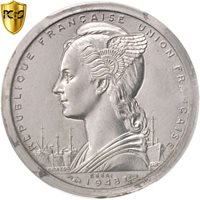 [#96582] SAINT PIERRE & MIQUELON, Franc, 1948, Piedfort, PCGS, SP64, Aluminum