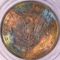 1885 MORGAN SILVER DOLLAR - PCGS MS64 - REVERSE TONED, HUGE COLORS, BEAUTIFUL