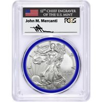 2017 W Burnished Silver Eagle PCGS SP70 Mercanti Signed Mint Engravers Series