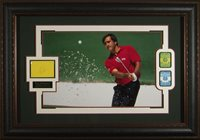 Seve Ballesteros Masters badges and Signature card Framed 30x43x2 by JSA