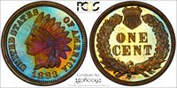 Blue Toned 1883 Proof Indian Cent 1883 Indian Cent PCGS Gold Shield PR-66BN.