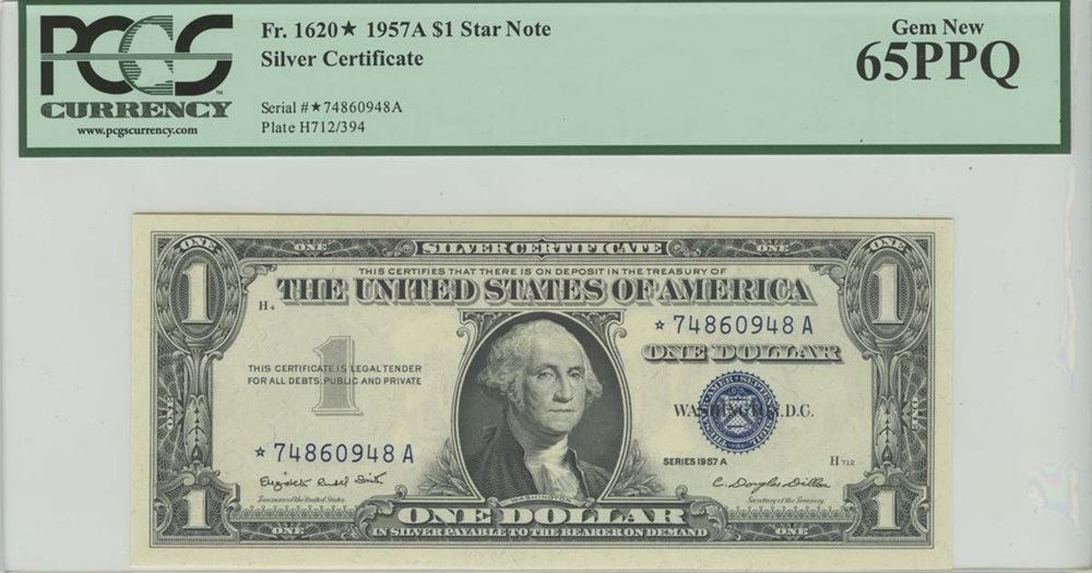 1957a 1 Star Note Silver Certificate Fr1620 Pcgs Ms6