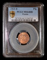 PCGS MS64 RB 1868-B Germany Prussia pfenning, only 1 graded by PCGS