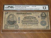 1902 $5 National Bank Note - Farmers NB Pittsburgh Pennsylvania #685 PMG 12
