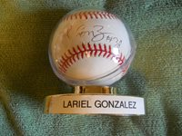 LARIEL GONZALEZ AUTOGRAPHED SIGNED BASEBALL Colorado Rockies Pitcher