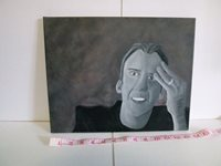 Nicolas Cage painted on canvas, Original Art by Nick Tufts
