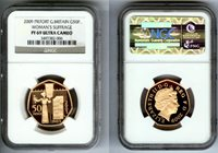 """2009 GOLD GREAT BRITAIN PIEFORT NGC PROOF 69 ULTRA CAMEO """"WOMANS SUFFRAGE"""" ONLY 40 COINS MINTED"""