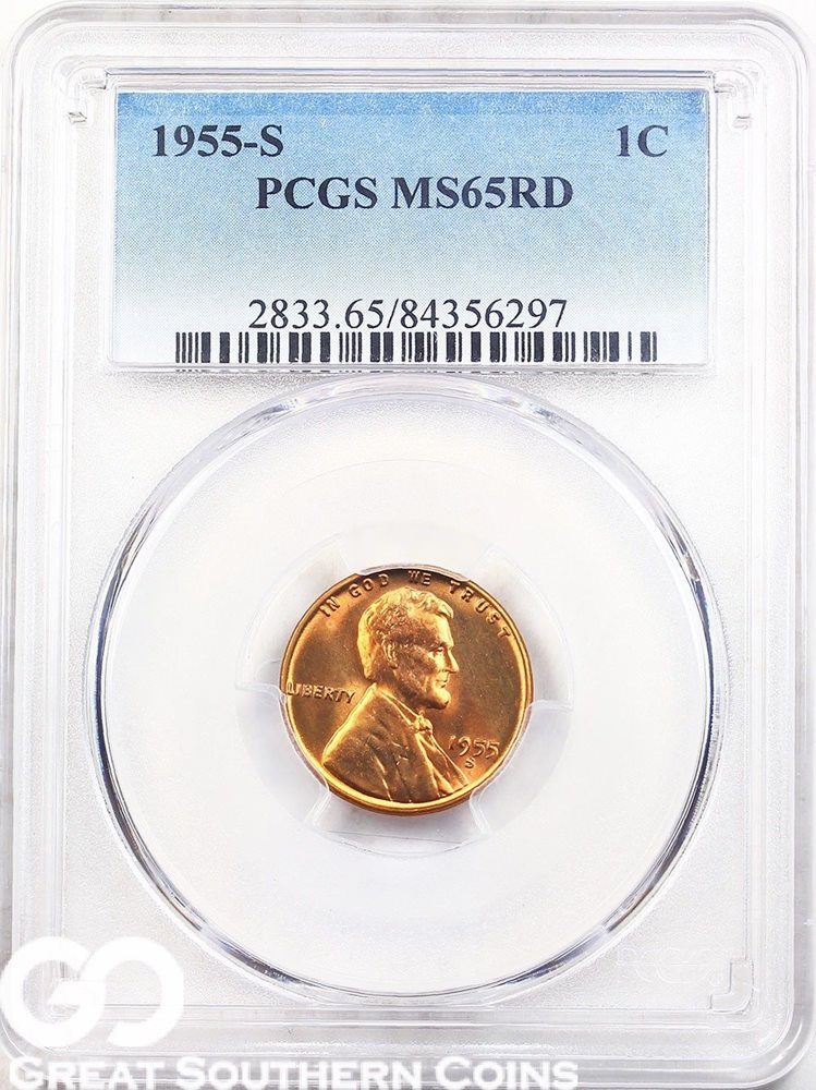 GEM 1955 PCGS PROOF//PR67 CERTIFIED PROOF SET US COINS RED//RD  LINCOLN
