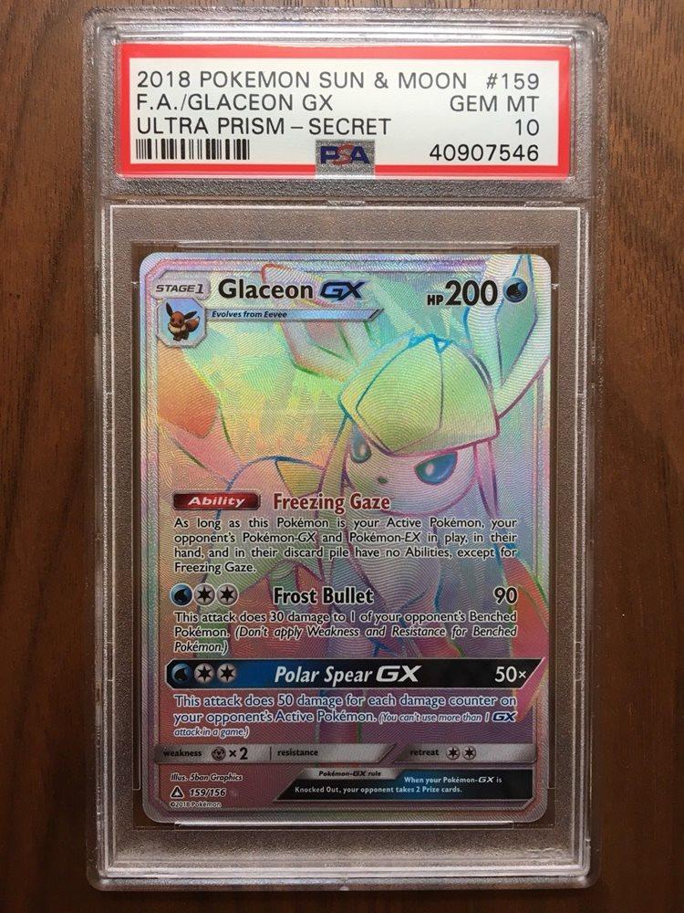 New Ultra Prism Near Mint Glaceon GX 159//156 Secret Rare Pokemon Sun /& Moon