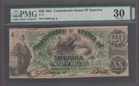 T-17 1861 $20 CONFEDERATE STATES OF AMERICA PMG-VF30