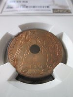 French Indochina 1 Cent 1917A NGC MS 65 RB