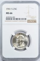 1941-S Washington Quarter 25C NGC MS66