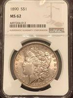 1890 MS 62 NGC Graded Morgan Silver Dollar
