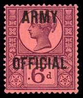 """1901, 6p VIOLET ON ROSE """"ARMY OFFICIAL"""" MINT, #O58, lightly hinged, fresh and fine-very fine, cat. $100.00 (Photo)"""