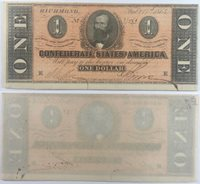 1864 $1 CSA Confederate States of America Note T71