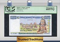 2000 Francs 1997 Djibouti Camel Caravan Pcgs 68 Ppq Finest Known!