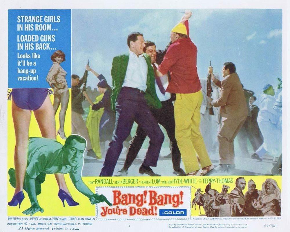 BANG BANG YOU'RE DEAD Lobby Card Tony Randall Senta Berger Herbert Lom  Wilfrid Hyde-White