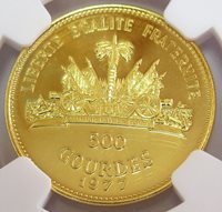 "1977 GOLD HAITI 500 GOURDES ECONOMIC CONNECTIONS NGC MINT STATE 69 ""ONLY 107 MINTED"""
