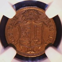 GENEVA, Swiss Cantons-1847 copper Centime 1-yr type; NGC AU58 BN-rare this nice!