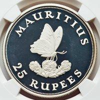 Mauritius Blue Swallowtail 25 Silver Rupees Proof 1975 NGC PR-67UC CHOICE GEM