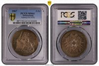 1867 MS64 PCGS Switzerland Shooting 5 Francs #A5