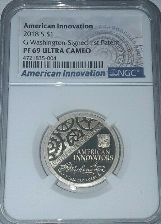 2018 D Innovation Dollar $1 Washington Signed 1st Patent $1 NGC MS67