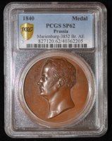 PCGS SP62 1840 German States Prussia Fr. Wilhelm III Death Remembering Medal