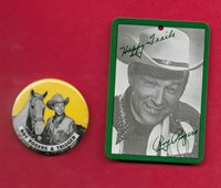 Roy Rogers Hang Tag ... Socks that won the west + Vintage Roy Rogers Pin
