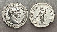 AC#CH-P Ancient Roman Antoninus Pius Denarius Silver Coin 138-161 AD 3.3g 19mm